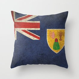 Old and Worn Distressed Vintage Flag of Turks and Caicos Throw Pillow