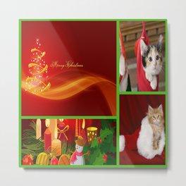 Merry Christmas Kittens - Green Frame Metal Print