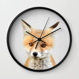 Baby Fox - Colorful Wall Clock