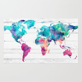 World Map Watercolor Paint on White Wood Rug