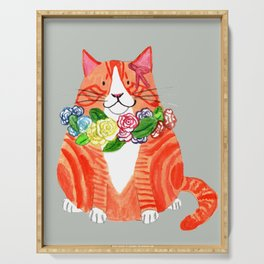 Marmalade Cat with Flower Crowns Serving Tray