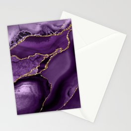 Glamour Purple Bohemian Watercolor Marble With Glitter Veins Stationery Cards