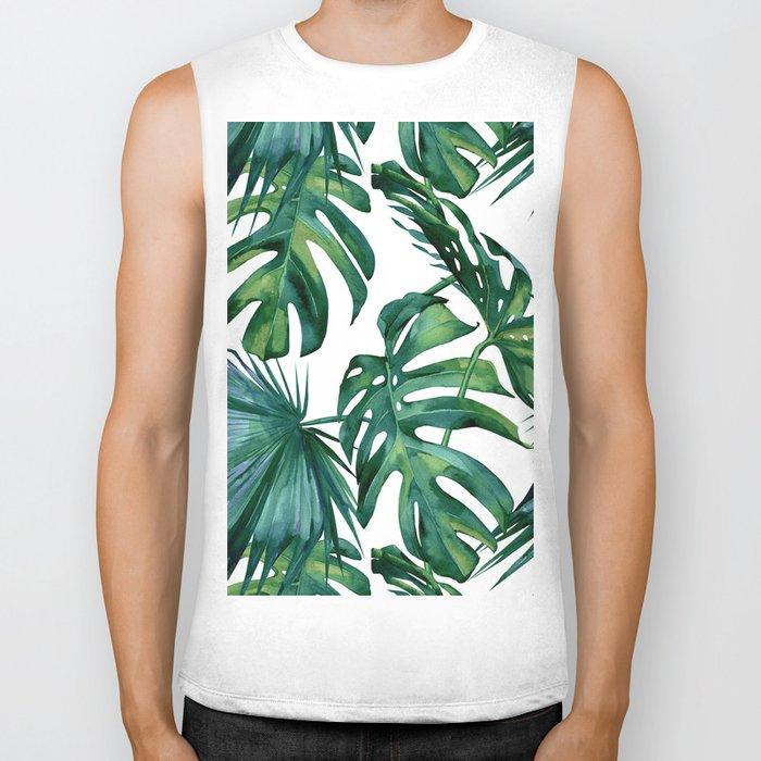 Classic Palm Leaves Tropical Jungle Green Biker Tank