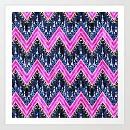 Pena Chevron Blue Art Print