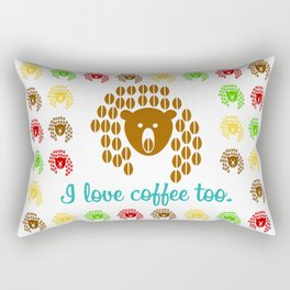 An image of a bear from coffee beans on the background of a pattern with the inscription Rectangular Pillow