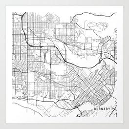 Burnaby Map, Canada - Black and White Art Print
