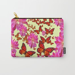 Violet Purple Pink Floral Butterfly Wreath Carry-All Pouch