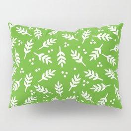 Christmas Pattern, Whimsical Leaves, Green Pillow Sham