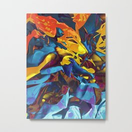 Harsh Mistress. Blue, Yellow and Orange Abstract. Metal Print