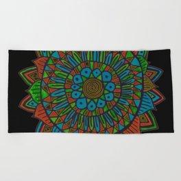 Glow Doodle Mandala Beach Towel