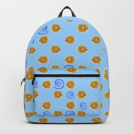 Spiral and golden flowers Backpack