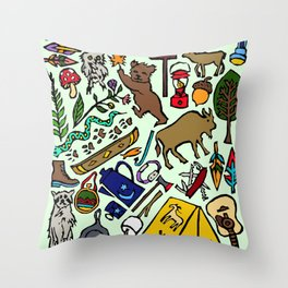 Camping In Color Throw Pillow