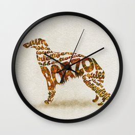 Borzoi Dog Typography Art / Watercolor Painting Wall Clock