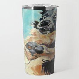 Let's Fly Border Collie Dog Portrait Travel Mug