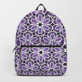 Symmetric Flower Pattern in Purple Backpack