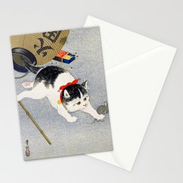 Ohara Koson - Lantern and Cat - Digital Remastered Edition Stationery Cards
