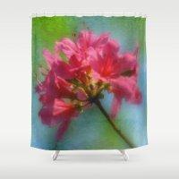 iggy azalea Shower Curtains featuring Pink Azalea by Joann Vitali