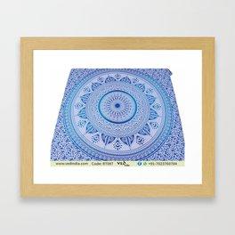 Hippie Wall Hangings Trippy Mandala Tapestries Floral Design Framed Art Print