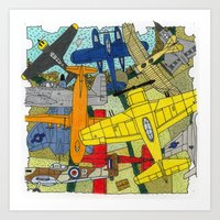 planes Art Prints featuring PLANES by The Gold Egg Company