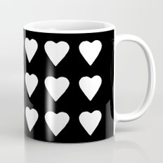 16 Hearts White on Black Coffee Mug