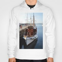 oslo Hoodies featuring Classic Boats In Oslo by Malcolm Snook
