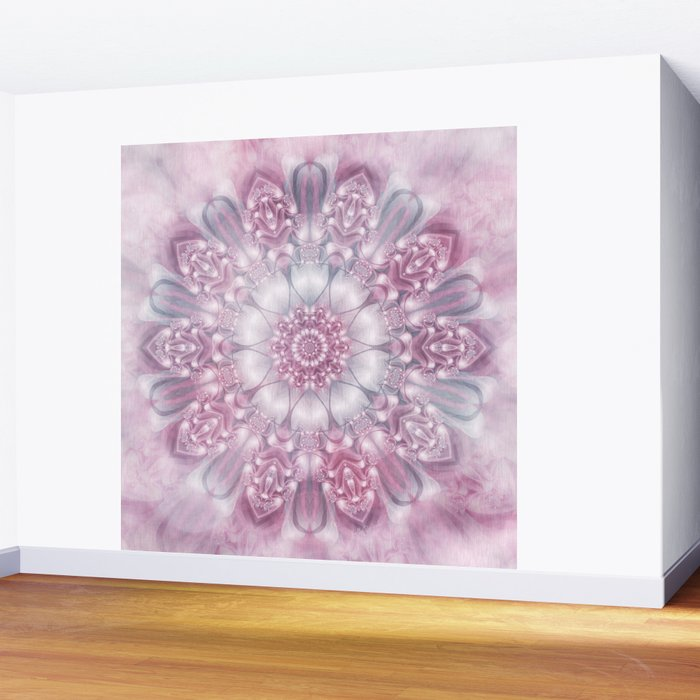 Dreams Mandala in Pink, Grey, Purple and White Wall Mural
