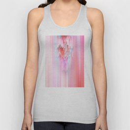 Abstract Cascade Glitch 2.Red and Pink Unisex Tank Top