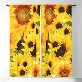 Wild yellow Sunflower Field Illustration Blackout Curtain