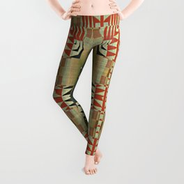 Orange Red Olive Green Native American Indian Mosaic Pattern Leggings