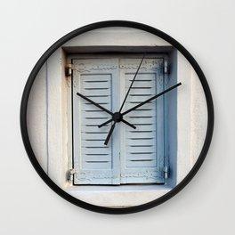 GRAY WOODEN 2-DOOR WINDOW CLOSED Wall Clock