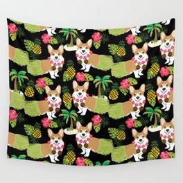 Corgi Hula Tropical Summer pineapple palm tree dog dogs pattern Wall Tapestry