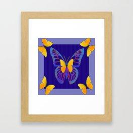 MODERN BLUE BUTTERFLIES ART Framed Art Print