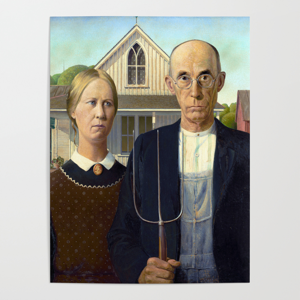 Grant Wood American Gothic Poster by jjbzz