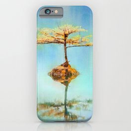 Zen tree on teal background watercolor painting iPhone Case