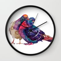 takmaj Wall Clocks featuring Pigeons by takmaj