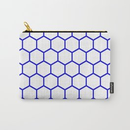 White and blue honeycomb pattern Carry-All Pouch