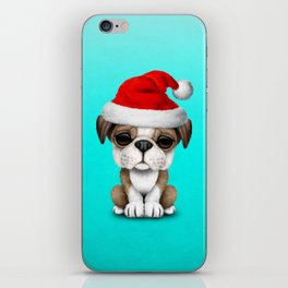 Christmas Bulldog Puppy Wearing a Santa Hat iPhone Skin