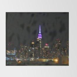 Manhattan by night NYC pixels Throw Blanket