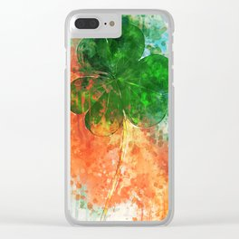 Party Shamrocks Clear iPhone Case