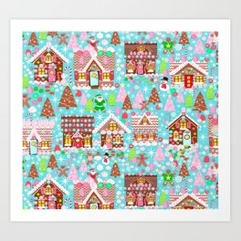 Gingerbread House Christmas Winter Candy, sweets.christmas gift, holiday gift for kids of all ages, Art Print
