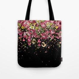 Black drooping flowers Tote Bag