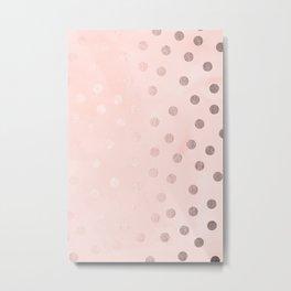 Rose Gold Pastel Pink Polka Dots Metal Print