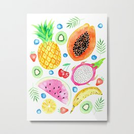 Fruit Salad All-Over Watercolour Print Metal Print