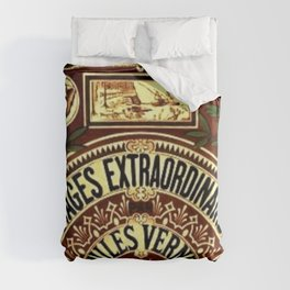 Jules Verne Voyages Extraordinaire Red Lithographic Print by Jeanpaul Ferro Duvet Cover