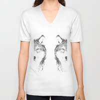 wolves V-neck T-shirts featuring WOLVES by Aonair Designs