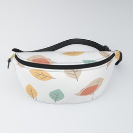cute lovely autumn fall pattern background with birds and leaves Fanny Pack