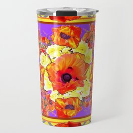 ABSTRACTED BLACK ORANGE-RED POPPIES DECORATIVE FLORAL Travel Mug