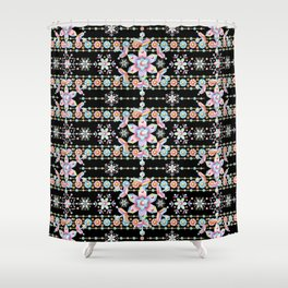 Folkloric Snowflakes Shower Curtain