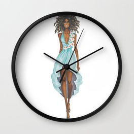 GIRL - Negress Lady In TURQUOISE - watercolor Wall Clock