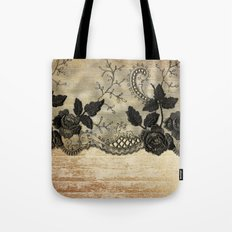 Black floral lace on wood  -Elegant and luxury design for women Tote Bag